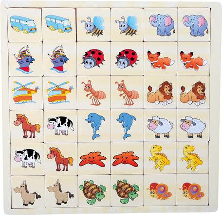 Memory Puzzel - Voertuigen en dieren