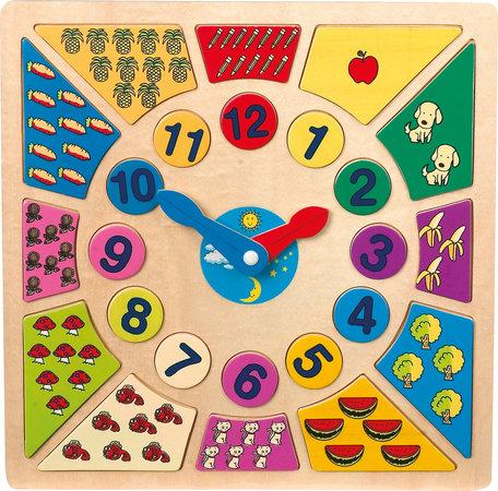 Multi kleuren houten klok - Leer klok kijken