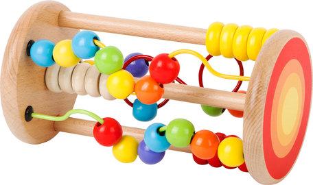 Kralenspiraal kleurrijke houten kralen achtbaan