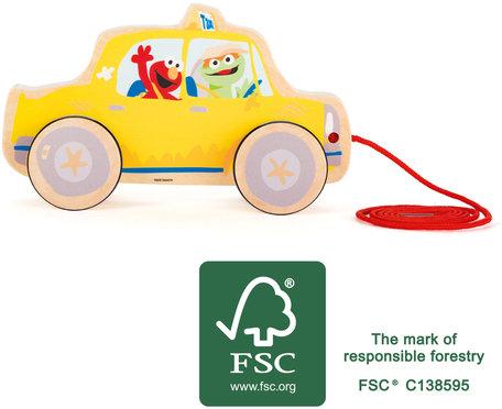 Trekfiguur SESAMSTRAAT - Taxi - Geel - FSC