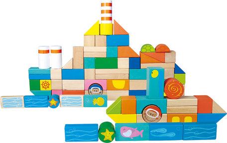 Houten blokken - onderwater wereld - 100 stuks