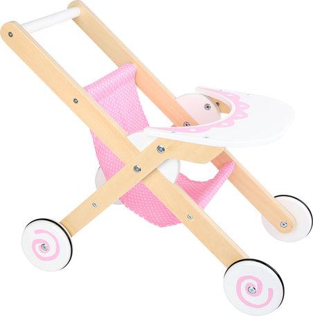 Poppen Buggy + houten wielen