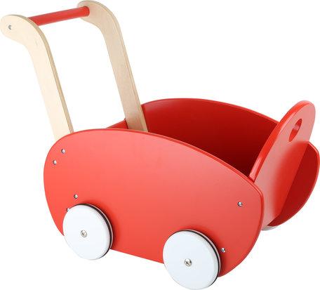 Houten poppenwagen - rood - rubberen bandjes