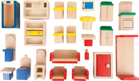 Poppenhuis met 22 meubels