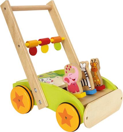 Loopwagen beukenhout - vrolijke dieren