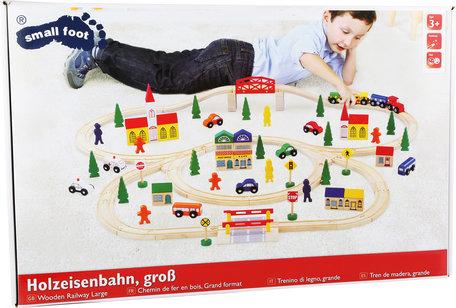 Houten treinbaanset XXL - 100 stuks - spoorwegen