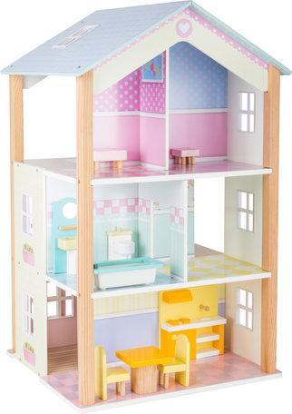 Poppenhuis - 3 verdiepingen + 15 meubels