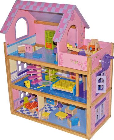 Poppenhuis roze + 23 meubels