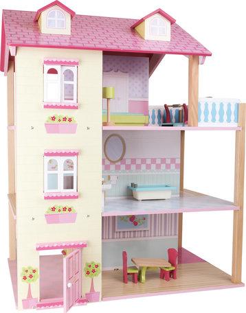 Poppenhuis met roze dak en 3 verdiepingen + 21 meubels