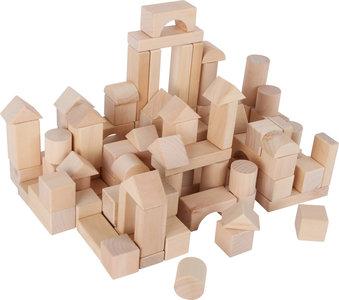 Houten blokken + handige tas - blank - 100 stuks