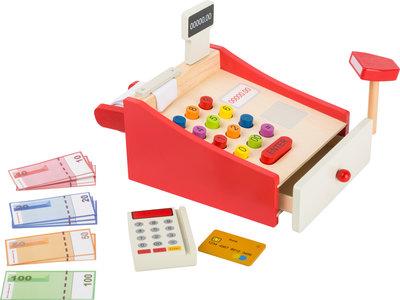 Speelgoed kassa met geld en bon papier