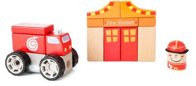 Bouwset met geluid - Brandweerauto, brandweerman + brandweer kazerne