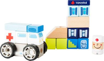 Bouwset met geluid - Ambulance, broeder + ziekenhuis