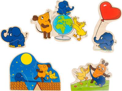 Puzzelbox met de kleine olifant en de muis