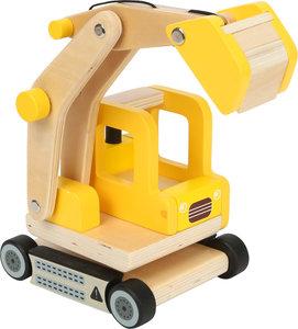 Houten graafmachine truck - Geel
