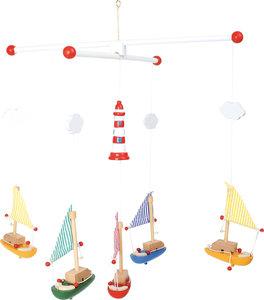 "Houten mobiel ""houten bootjes en kleine vuurtoren"""