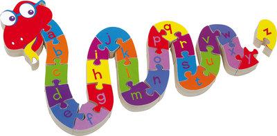 Houten puzzelslang - ABC leren
