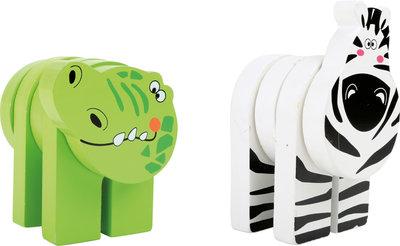 Houten dieren -  2 stuks - Zebra + krokodil