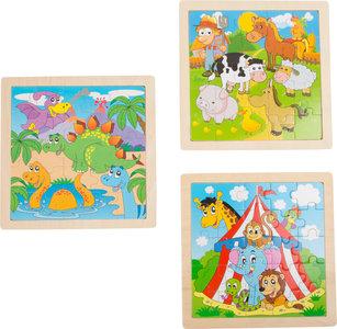 Puzzelset - 3 stuks - circus, boerderij en dino's