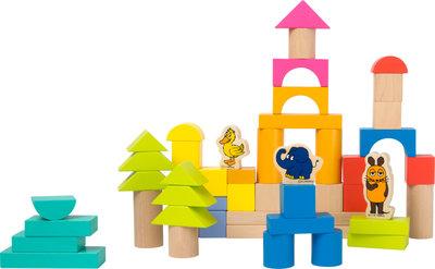 Ton met houten bouwblokken - Olifant en de muis (50 stuks)