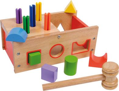 Hamerbank kleurrijk hout + geometrische houten blokken