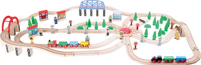 Treinset XXL - 140 stuks + rotonde en bos - spoorwegen
